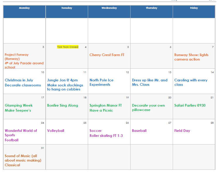 July 2017 Calendar   Tick Tock Early Learning Center